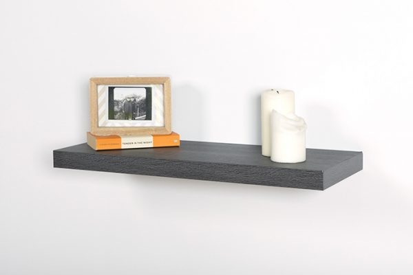 Flexi Storage Decorative Shelving Floating Shelf Ash Oak 600 x 240 x 38mm fitted on wall with decorations on top