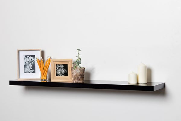 Flexi Storage Decorative Shelving Floating Shelf Black Gloss 1200 x 240 x 38mm fitted on wall with decorations on top