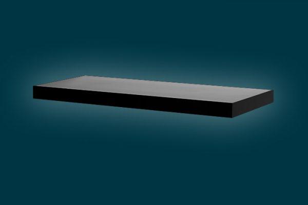 Flexi Storage Decorative Shelving Floating Shelf Black Gloss 600 x 240 x 38mm isolated