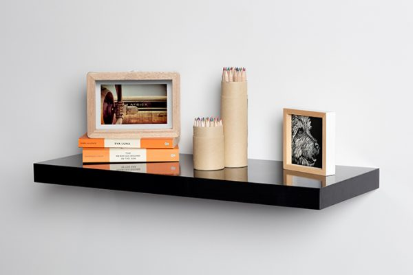 Flexi Storage Decorative Shelving Floating Shelf Black Gloss 600 x 240 x 38mm fitted on wall with decorations on top