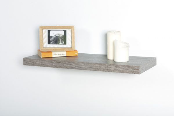 Flexi Storage Decorative Shelving Floating Shelf Grey Oak 600 x 240 x 38mm fitted on wall with decorations on top