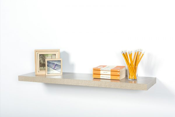 Flexi Storage Decorative Shelving Floating Shelf Oak 900 x 240 x 38mm fitted on wall with decorations on top