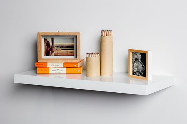 Flexi Storage Decorative Shelving Floating Shelf White Gloss 600 x 240 x 38mm fitted on wall with decorations on top