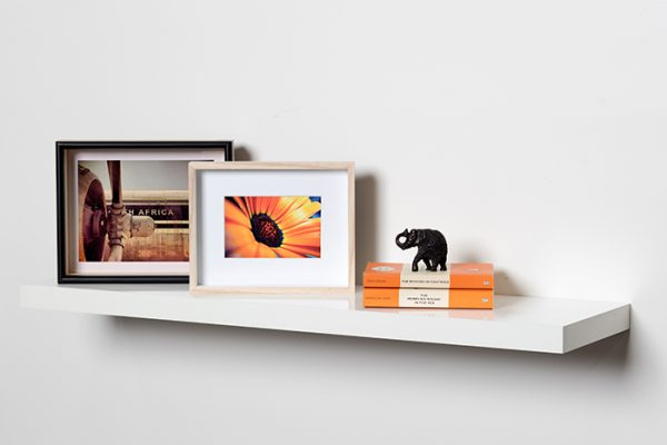 Flexi Storage Decorative Shelving Floating Shelf White Matt 900 x 240 x 38mm fitted on wall with decorations on top