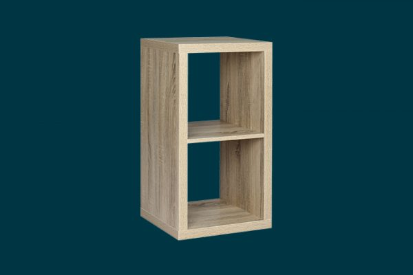 Flexi Storage Clever Cube 1 x 2 Cube Oak Storage Unit isolated