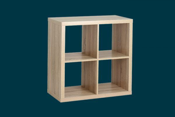 Flexi Storage Clever Cube 2 x 2 Cube Oak Storage Unit isolated