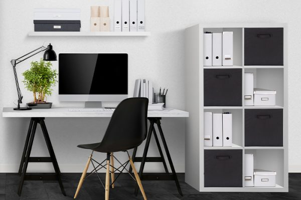 Flexi Storage Clever Cube 2 x 4 Cube White Storage Unit used as storage in home office