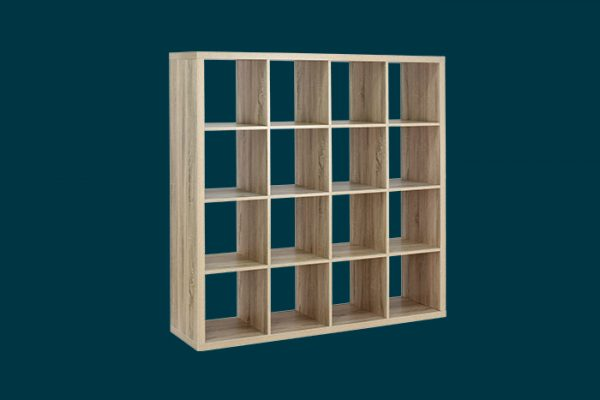 Flexi Storage Clever Cube 4 x 4 Cube Oak Storage Unit isolated