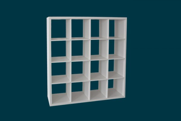 Flexi Storage Clever Cube 4 x 4 Cube White Storage Unit isolated