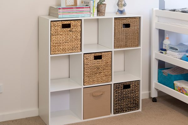 Flexi Storage Clever Cube Compact Insert Coffee inserted into 3x3 Unit White in kids bedroom