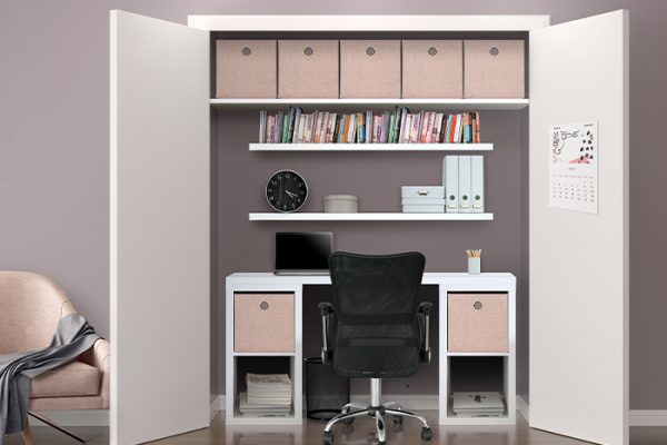 Flexi Storage Clever Cube Premium Fabric Insert Blush Pink fitted inside Clever Cube Units and on a shelf in study nook