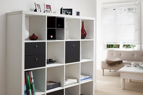 Flexi Storage Clever Cube Timber Insert Divider Black fitted inside Clever Cube 4x4 Unit White in lounge room