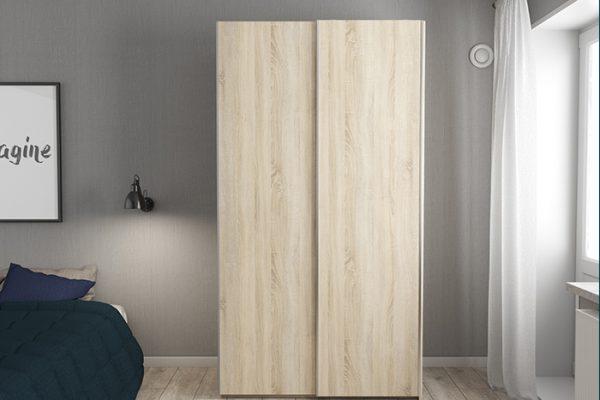 Flexi Storage Wardrobe 2 Door Sliding Wardrobe Frame Oak in bedroom fitted with Oak Doors