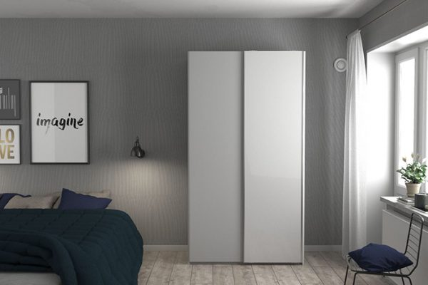 Flexi Storage Wardrobe 2 Door Sliding Wardrobe Frame White in bedroom fitted with High Gloss White Doors