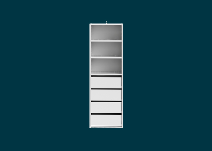 Built-In Wardrobe 3 Shelf 4 Drawer Unit White