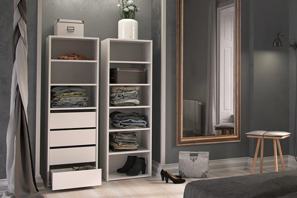 Flexi Storage Wardrobe Built-In Wardrobe 3 Shelf 4 Drawer Unit White installed in a built in wardrobe