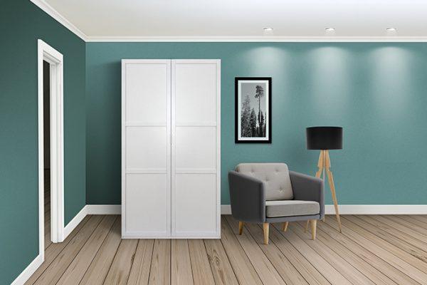 Flexi Storage Wardrobe Hinged Wardrobe Door Classic in room installed on Hinged Wardrobe 2 Door Frame White