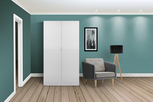 Flexi Storage Wardrobe Hinged Wardrobe Door High Gloss White in room installed on Hinged Wardrobe 2 Door Frame White