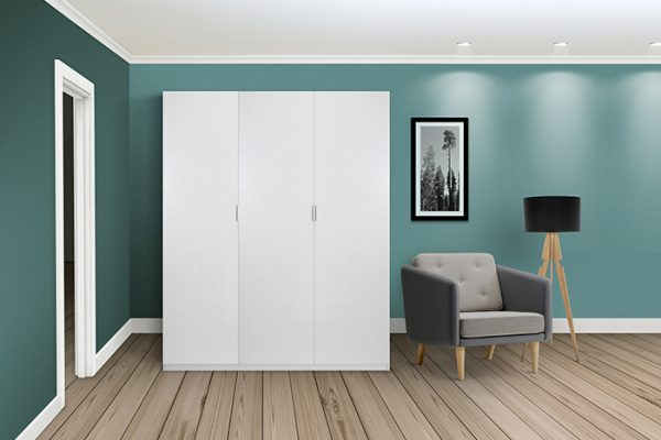 Flexi Storage Wardrobe Hinged Wardrobe Door White in room installed on Hinged Wardrobe 3 Door Frame White
