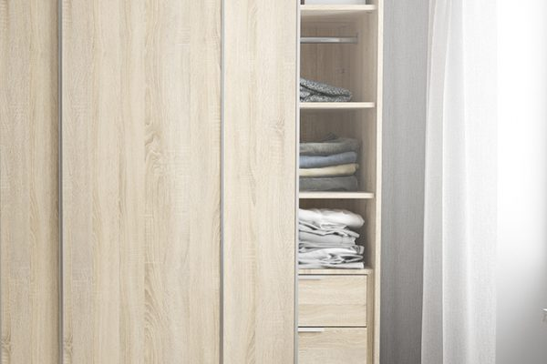 Flexi Storage Wardrobe Sliding Wardrobe 2 Shelves Oak fitted in 2 Door Sliding Wardrobe Oak