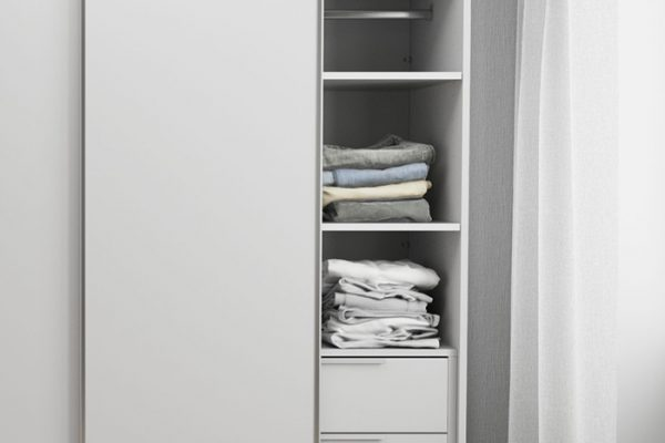 Flexi Storage Wardrobe Sliding Wardrobe 2 Shelves White fitted in 2 Door Sliding Wardrobe White