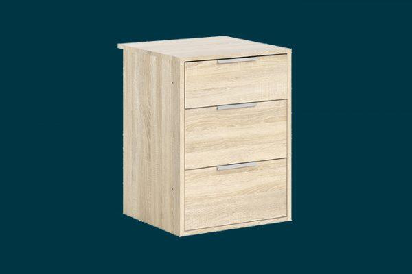 Flexi Storage Wardrobe Sliding Wardrobe 3 Drawer Insert Oak isolated
