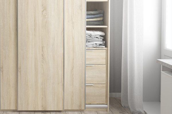 Flexi Storage Wardrobe Sliding Wardrobe 3 Drawer Insert Oak in bedroom fitted in 3 Door Frame Oak