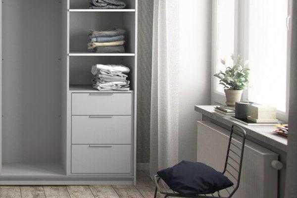Flexi Storage Wardrobe Sliding Wardrobe 3 Drawer Insert White in bedroom fitted on 3 Door Frame White