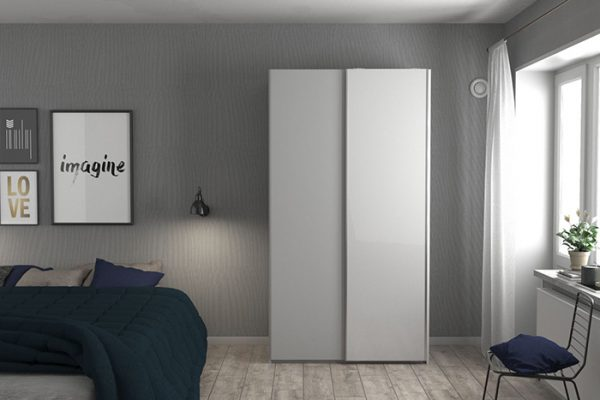 Flexi Storage Wardrobe Sliding Wardrobe Door High Gloss White in bedroom fitted on 2 Door Frame White