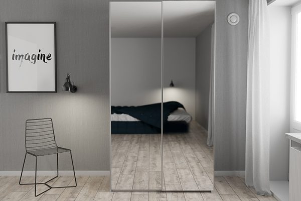Flexi Storage Wardrobe Sliding Wardrobe Door Mirror in bedroom fitted on 2 Door Frame White