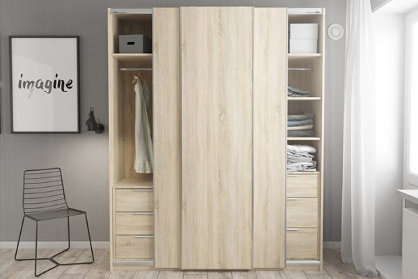 Flexi Storage Wardrobe Sliding Wardrobe Door Oak in bedroom fitted on 3 Door Frame Oak