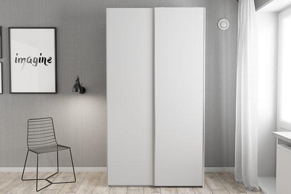Flexi Storage Wardrobe Sliding Wardrobe Door White in bedroom fitted on 2 Door Frame White