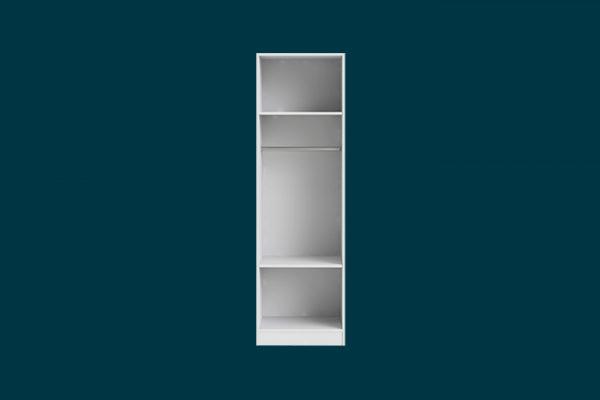 Flexi Storage Wardrobe Walk-In Wardrobe 1 Hang Rail 2 Shelf Unit White isolated