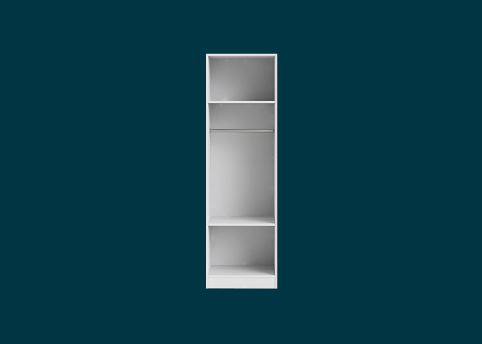 Walk-In Wardrobe 1 Hang Rail 2 Shelf Unit White