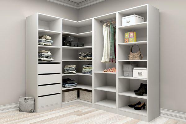 Flexi Storage Wardrobe Walk-In Wardrobe 1 Hang Rail 2 Shelf Unit White installed in a walk in wardrobe