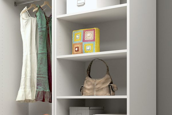 Flexi Storage Wardrobe Walk-In Wardrobe 2 Shelves White installed in a walk in wardrobe