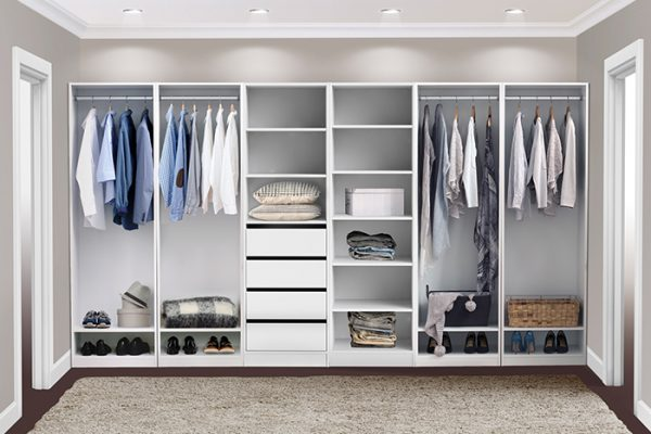 Flexi Storage Wardrobe Walk-In Wardrobe 4 Drawer 3 Shelf Unit White installed in a walk in wardrobe