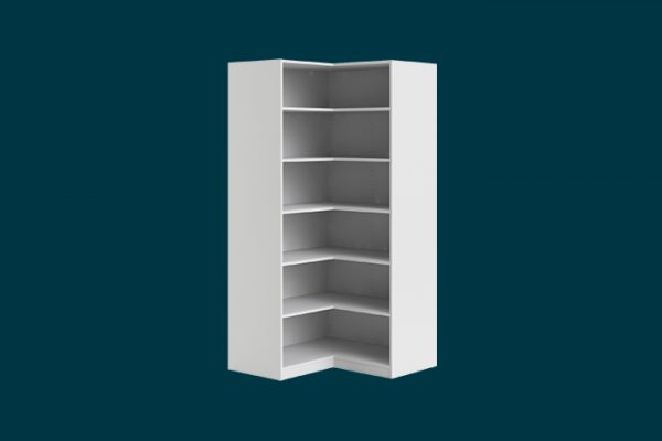 Flexi Storage Wardrobe Walk-In Wardrobe 6 Shelf Corner Unit White isolated