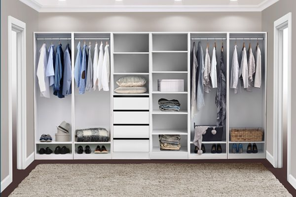 Flexi Storage Wardrobe Walk-In Wardrobe 6 Shelf Unit White installed in a walk in wardrobe