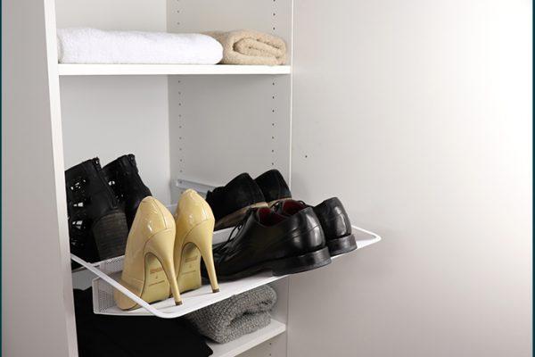 Flexi Storage Wardrobe Walk-In Wardrobe Mesh Shoe Rack installed in a walk in wardrobe
