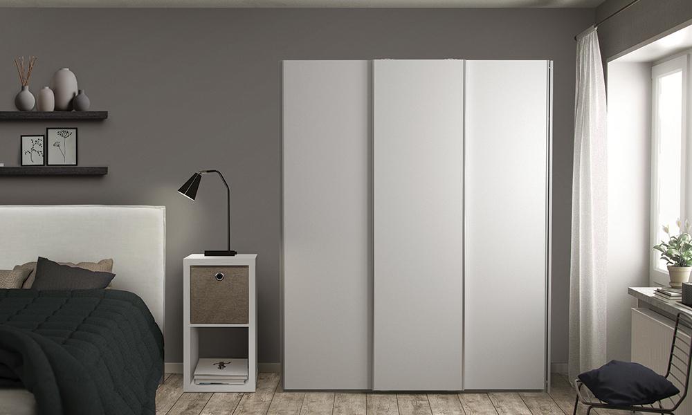 Flexi Storage Wardrobe Sliding Wardrobe 3 Door Frame White in bedroom with Sliding Doors White installed