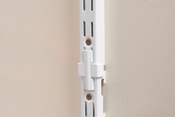 Flexi Storage Home Solutions Double Slot Wall Strip Joiners White installed on wall with Double Slot Wall Strips joined