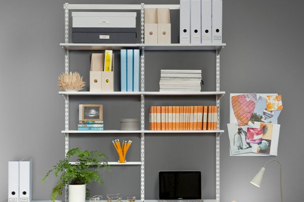 Flexi Storage Home Solutions Double Slot Wall Strip White installed on wall and combined with Home Solutions products to create home office storage