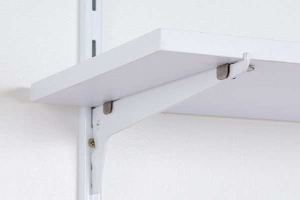 Flexi Storage Home Solutions Single Slot Bracket White installed onto Single Slot Wall Strip with Timber Shelf affixed on top