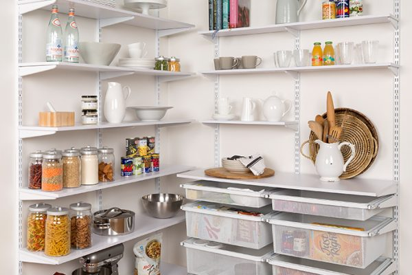 Flexi Storage Home Solutions Timber Shelf White 596x360x16mm mounted on Home Solutions Double Slot System and used as shelving in a pantry