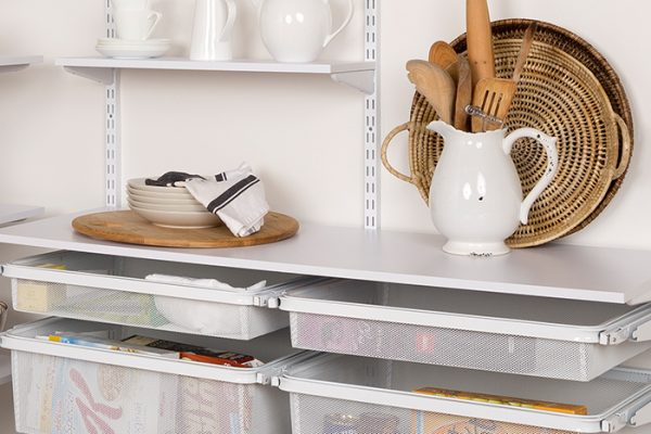 Flexi Storage Home Solutions Timber Shelf White 596x430x16mm mounted on Home Solutions Double Slot System and used as shelving in a pantry