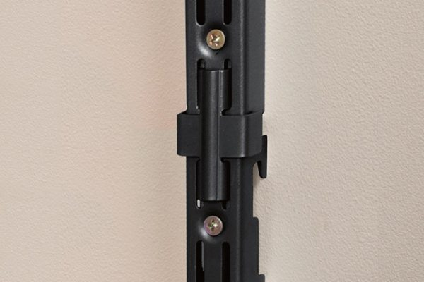 Flexi Storage Home Solutions Double Slot Wall Strip Joiners Black installed on wall with Double Slot Wall Strips joined