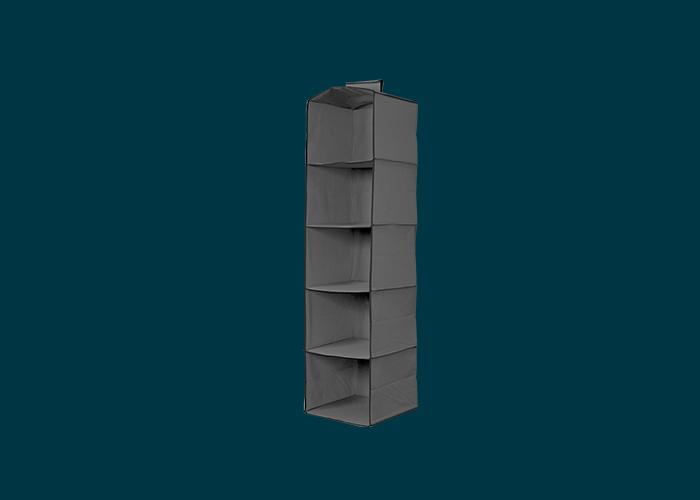 5 Shelf Premium Hanging Organiser Dark Grey