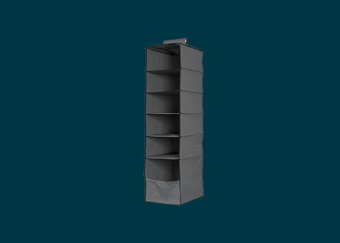 6 Shelf Premium Hanging Organiser Dark Grey
