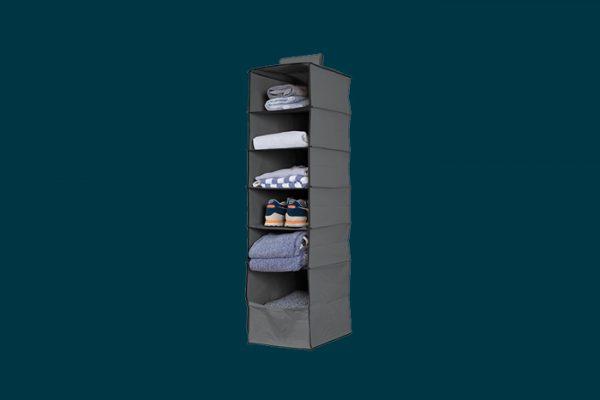 Flexi Storage 6 Shelf Premium Hanging Organiser filled with clothing